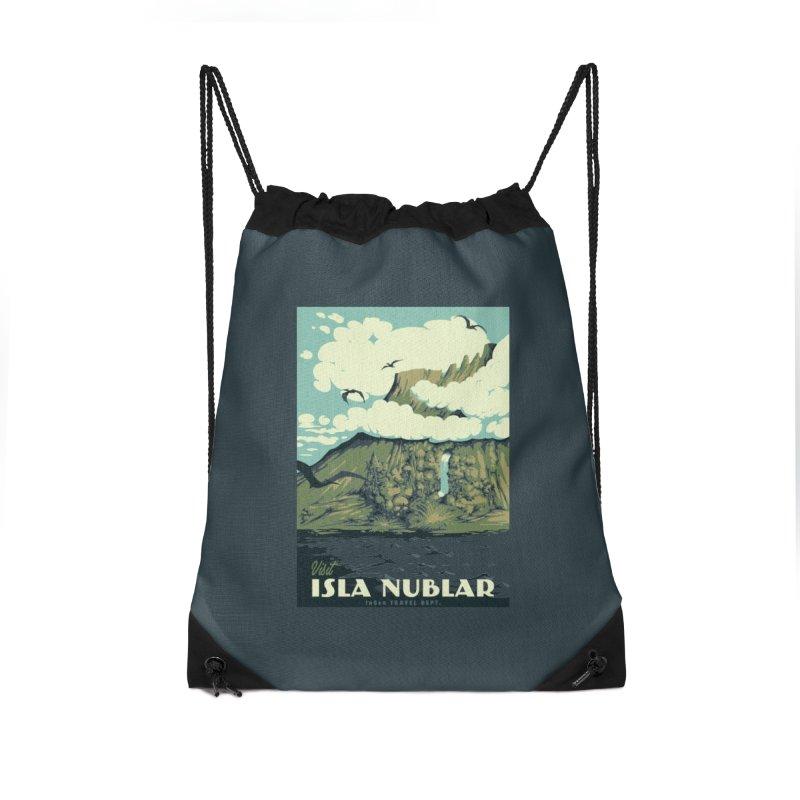 Visit Isla Nublar Accessories Drawstring Bag Bag by mathiole