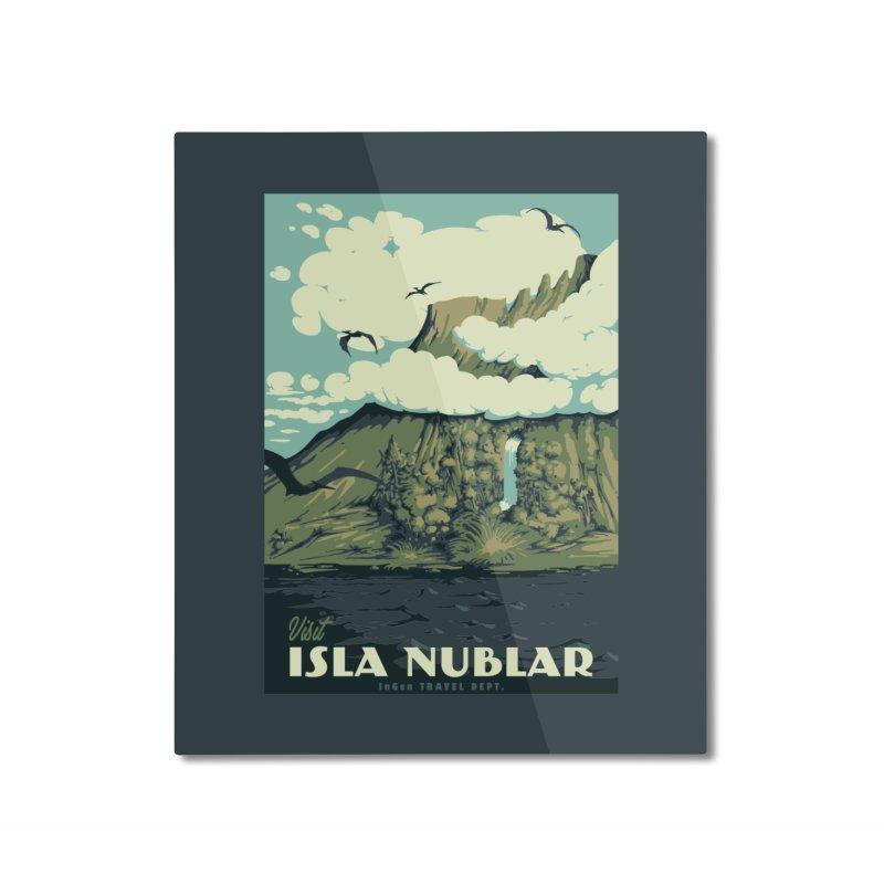 Visit Isla Nublar Home Mounted Aluminum Print by mathiole