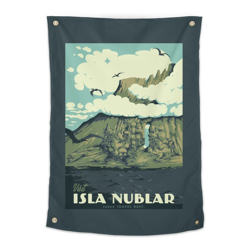 Visit Isla Nublar Home Tapestry by mathiole