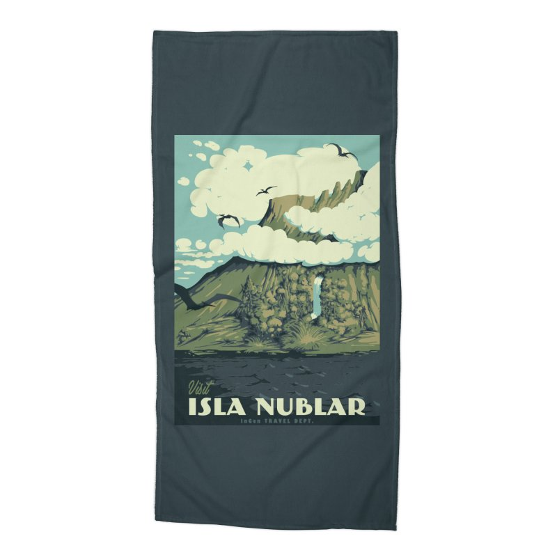 Visit Isla Nublar Accessories Beach Towel by mathiole