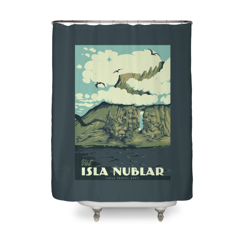 Visit Isla Nublar Home Shower Curtain by mathiole