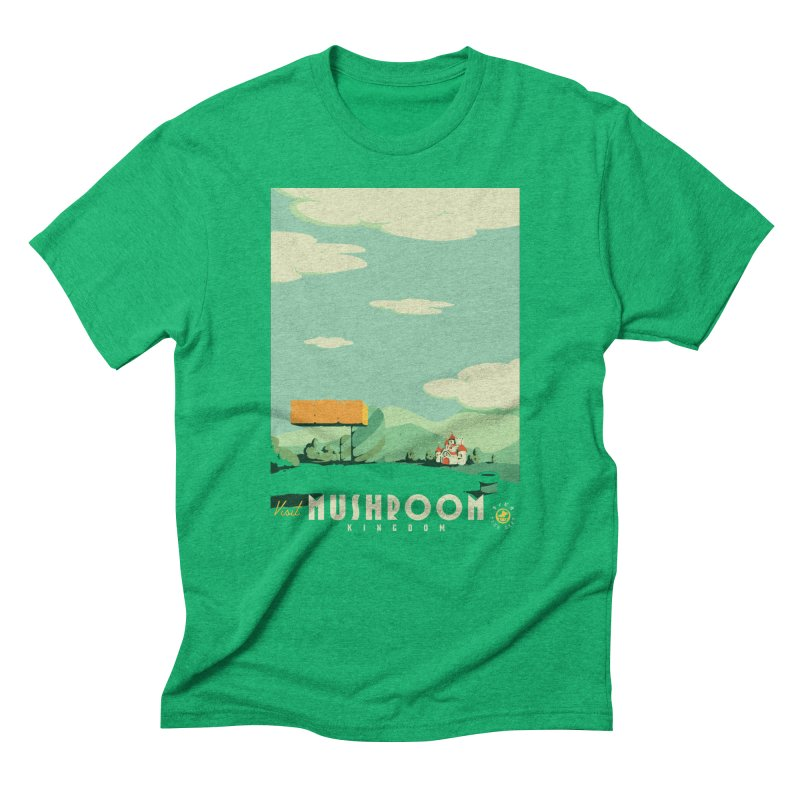 Visit Mushroom Kingdom in Men's Triblend T-Shirt Tri-Kelly by mathiole