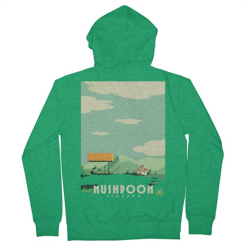 Visit Mushroom Kingdom Men's French Terry Zip-Up Hoody by mathiole