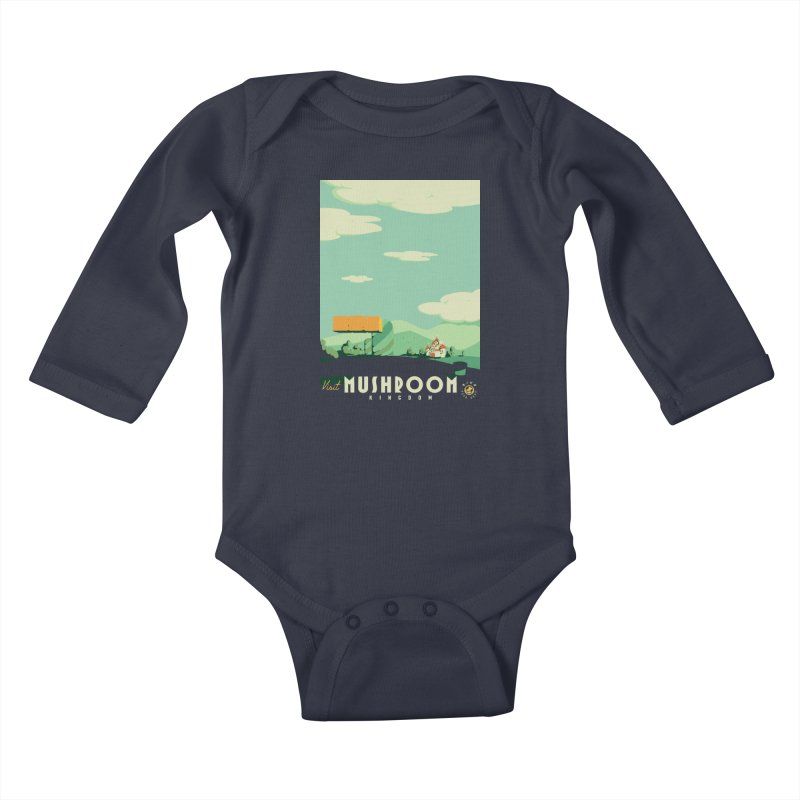 Visit Mushroom Kingdom Kids Baby Longsleeve Bodysuit by mathiole