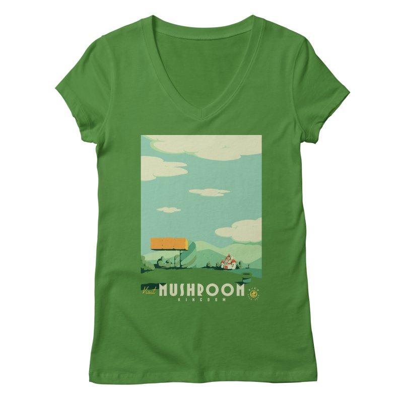 Visit Mushroom Kingdom Women's Regular V-Neck by mathiole
