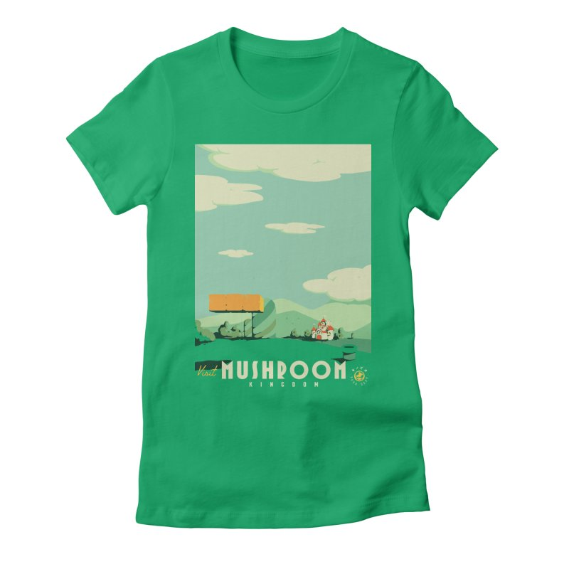 Visit Mushroom Kingdom Women's Fitted T-Shirt by mathiole