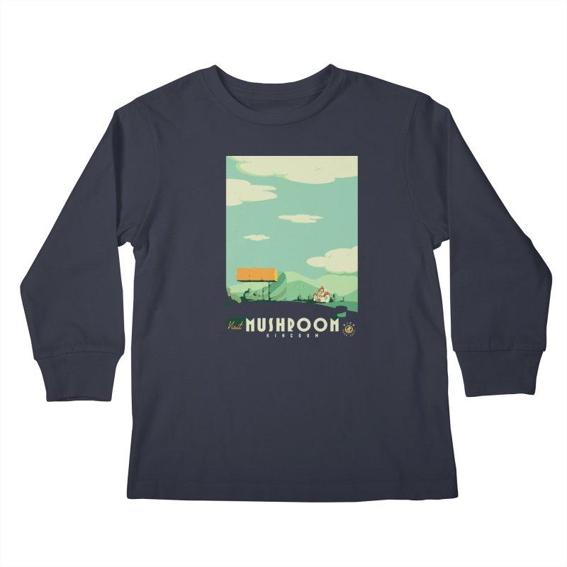 Visit Mushroom Kingdom Kids Longsleeve T-Shirt by mathiole