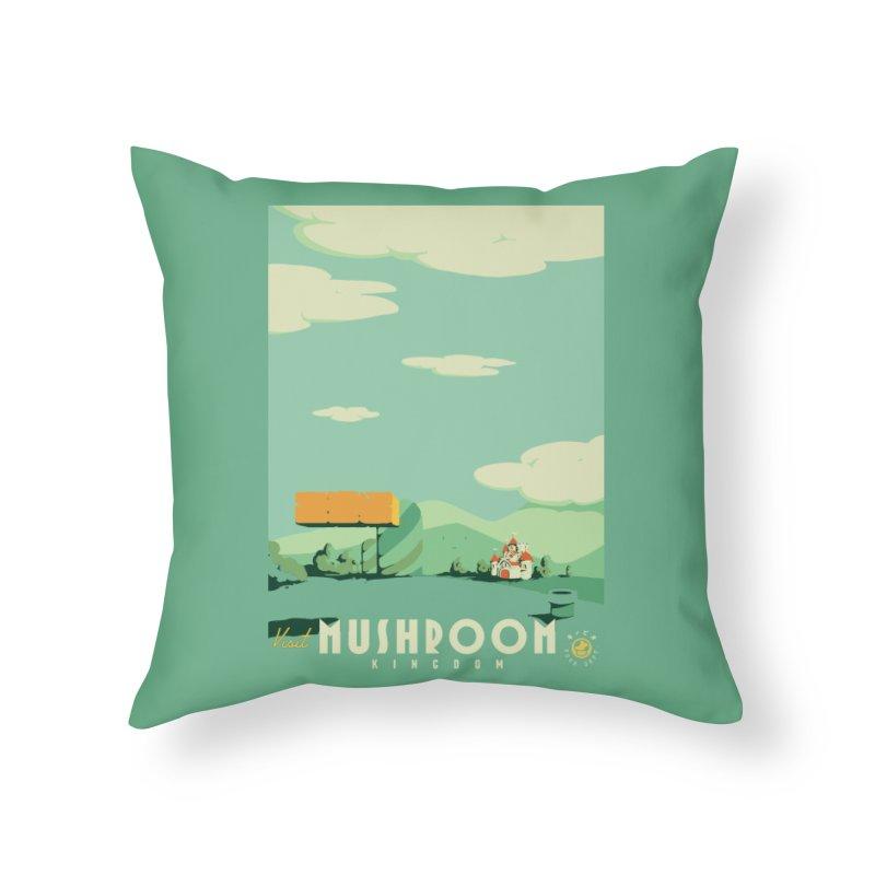 Visit Mushroom Kingdom Home Throw Pillow by mathiole