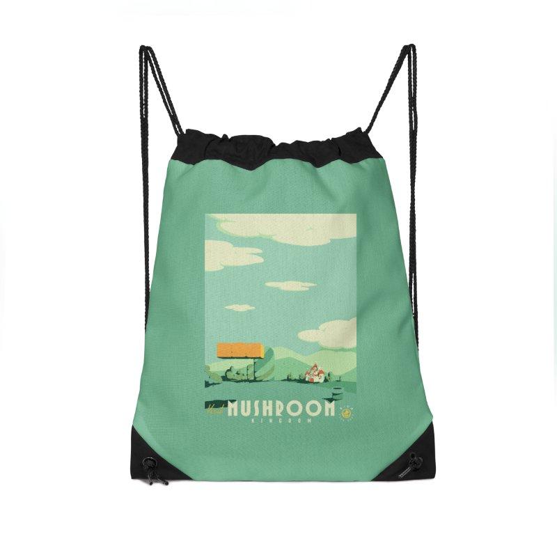 Visit Mushroom Kingdom Accessories Drawstring Bag Bag by mathiole