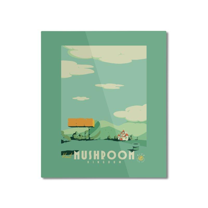 Visit Mushroom Kingdom Home Mounted Aluminum Print by mathiole