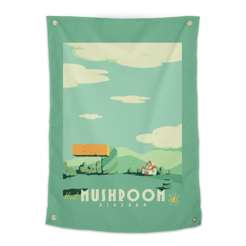 Visit Mushroom Kingdom Home Tapestry by mathiole