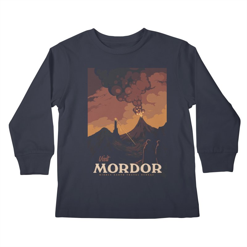 Visit Mordor Kids Longsleeve T-Shirt by mathiole