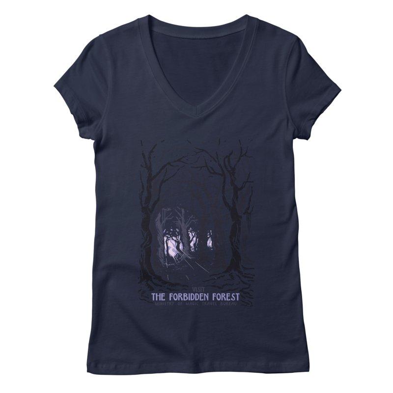 Visit The Forbidden Forest Women's Regular V-Neck by mathiole