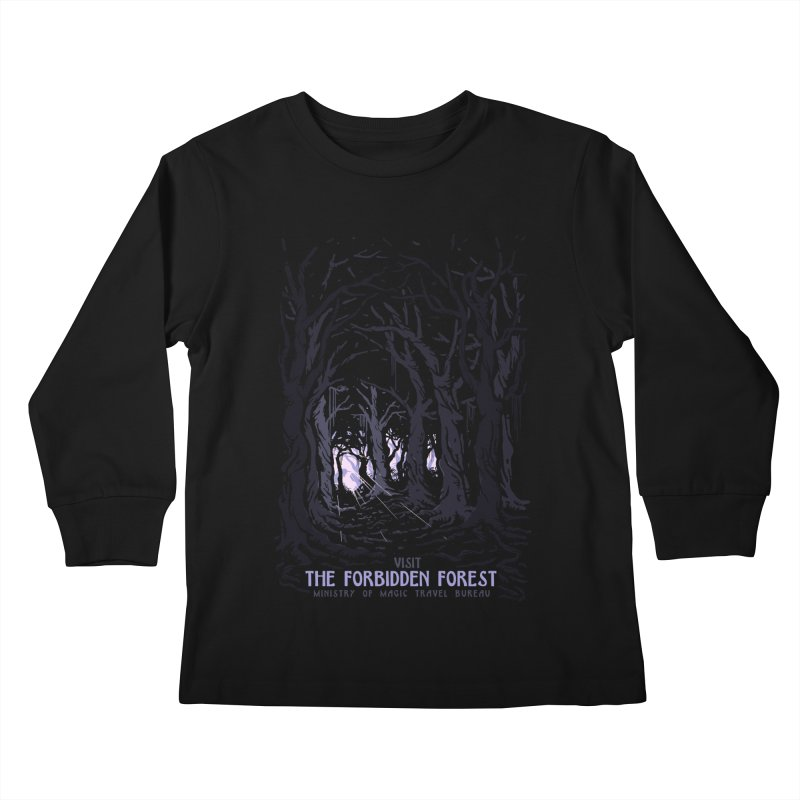 Visit The Forbidden Forest Kids Longsleeve T-Shirt by mathiole