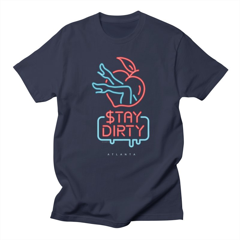 Stay Dirty Neon in Men's T-shirt Navy by MattAlbert84's Apparel Shop