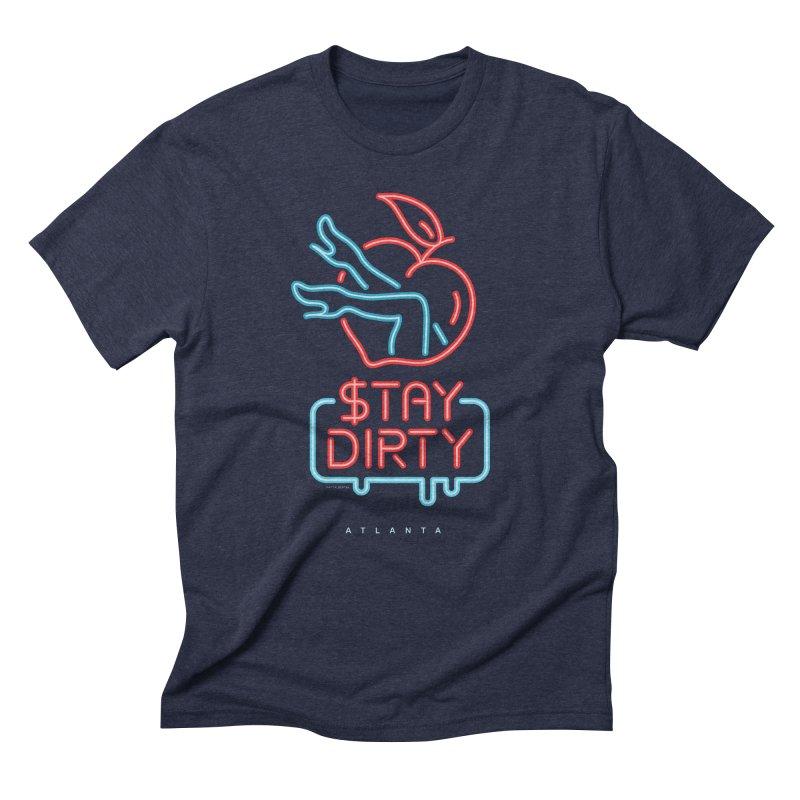 Stay Dirty Neon in Men's Triblend T-Shirt Navy by MattAlbert84's Apparel Shop
