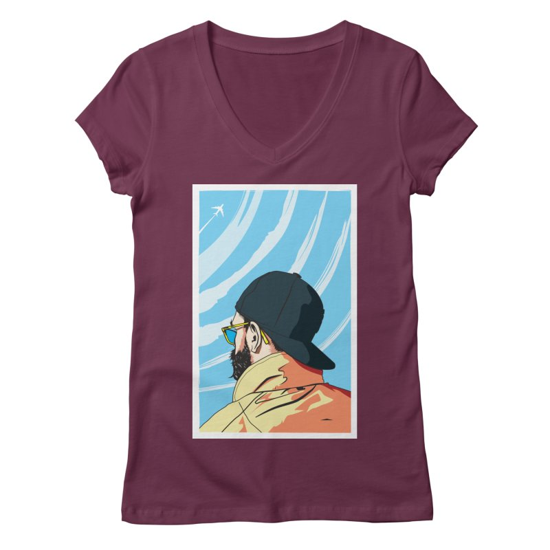 Look to the Sky Women's V-Neck by Matt Fontaine Illustration