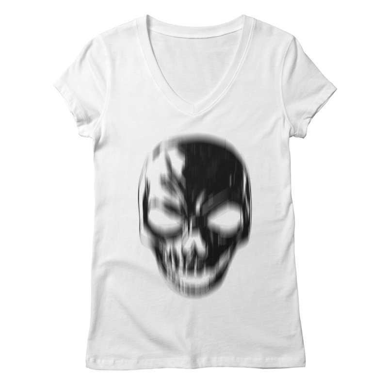 Blurred Skullines Women's V-Neck by Matthew, Mark, Luke, & John's Artist Shop