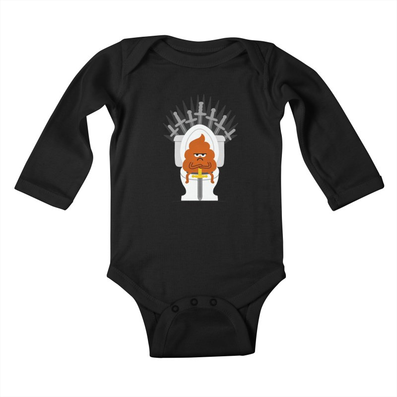 Game Of Toilets Kids Baby Longsleeve Bodysuit by Mauro Gatti House of Fun