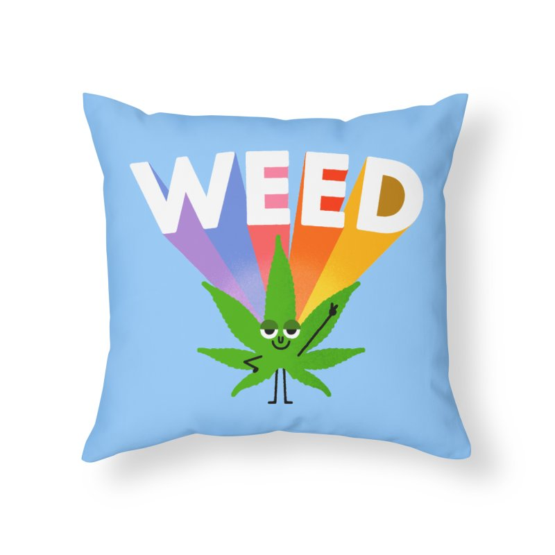Weed Home Throw Pillow by Mauro Gatti House of Fun