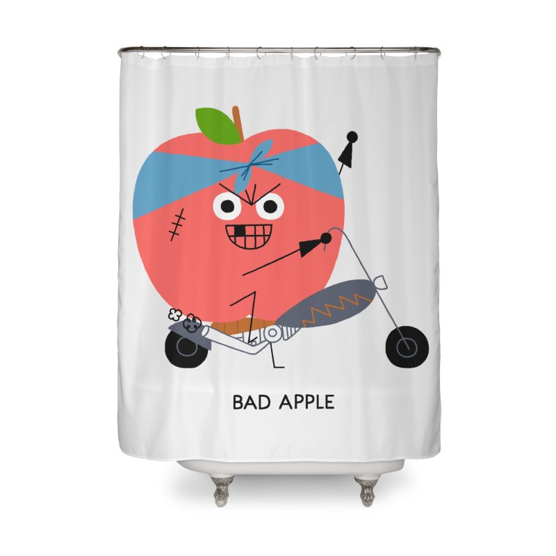 Bad Apple Home Shower Curtain by Mauro Gatti House of Fun