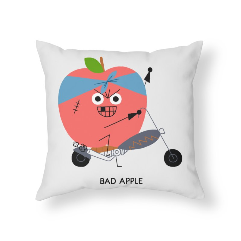 Bad Apple Home Throw Pillow by Mauro Gatti House of Fun