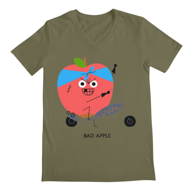 Bad Apple Men's Regular V-Neck by Mauro Gatti House of Fun