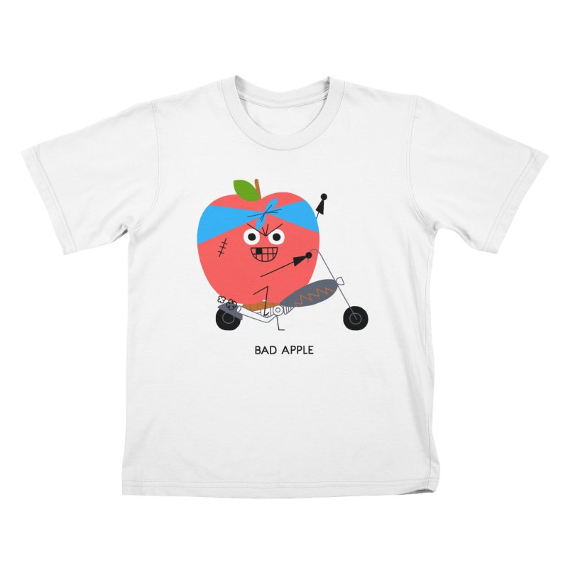 Bad Apple in Kids T-Shirt White by Mauro Gatti House of Fun