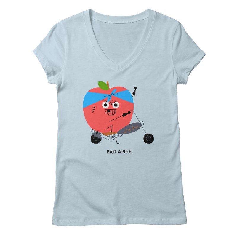 Bad Apple Women's V-Neck by Mauro Gatti House of Fun