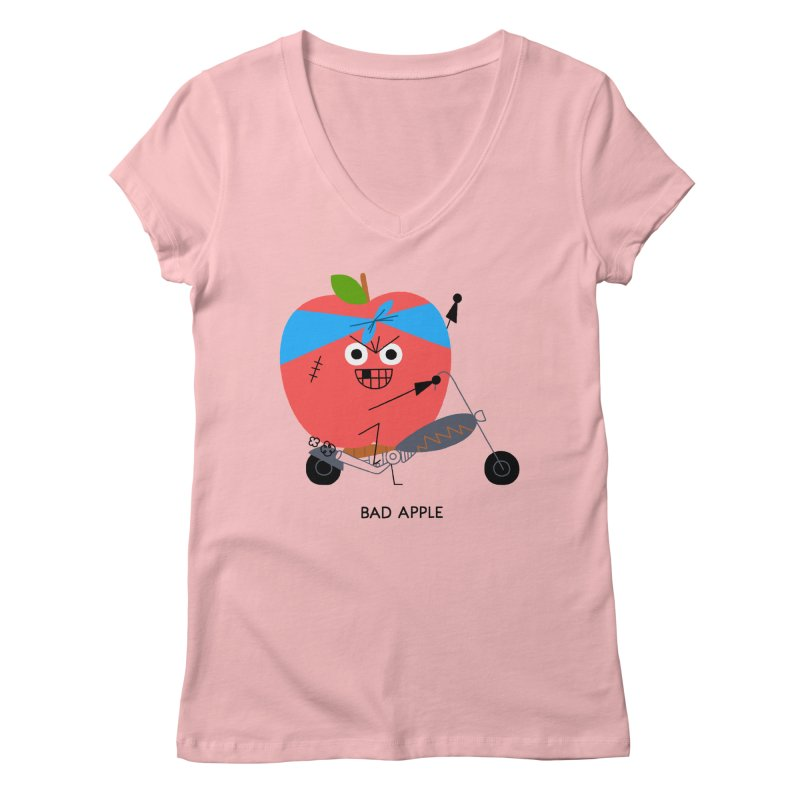 Bad Apple Women's Regular V-Neck by Mauro Gatti House of Fun