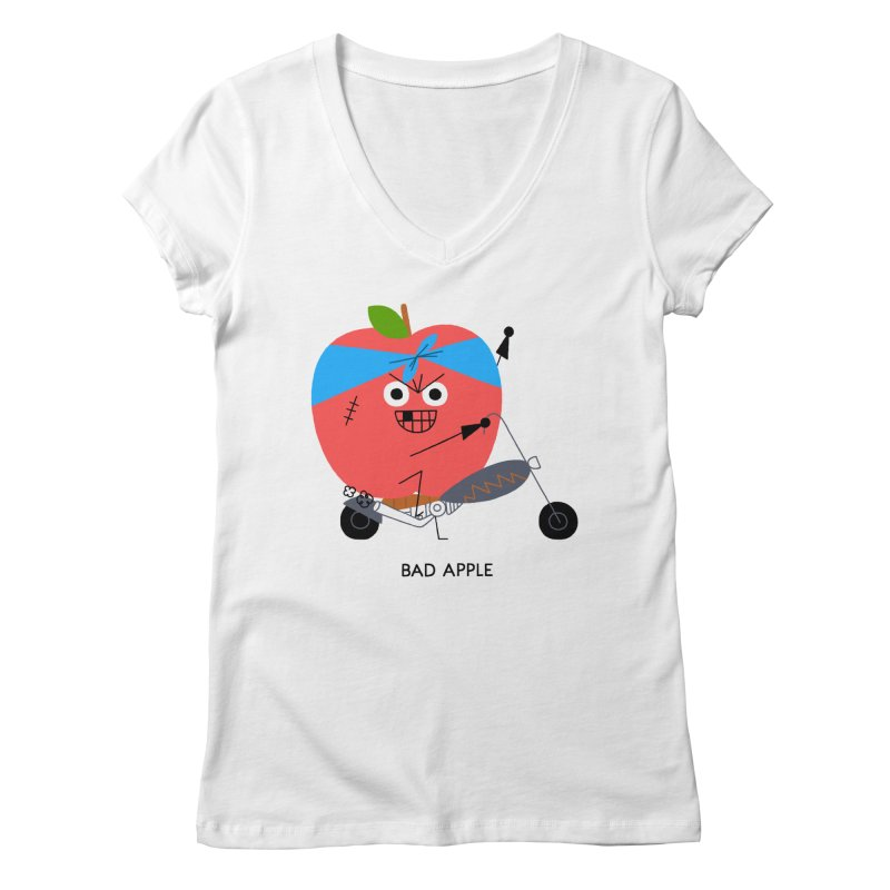 Bad Apple Women's V-Neck by Mauro Gatti House of Fun