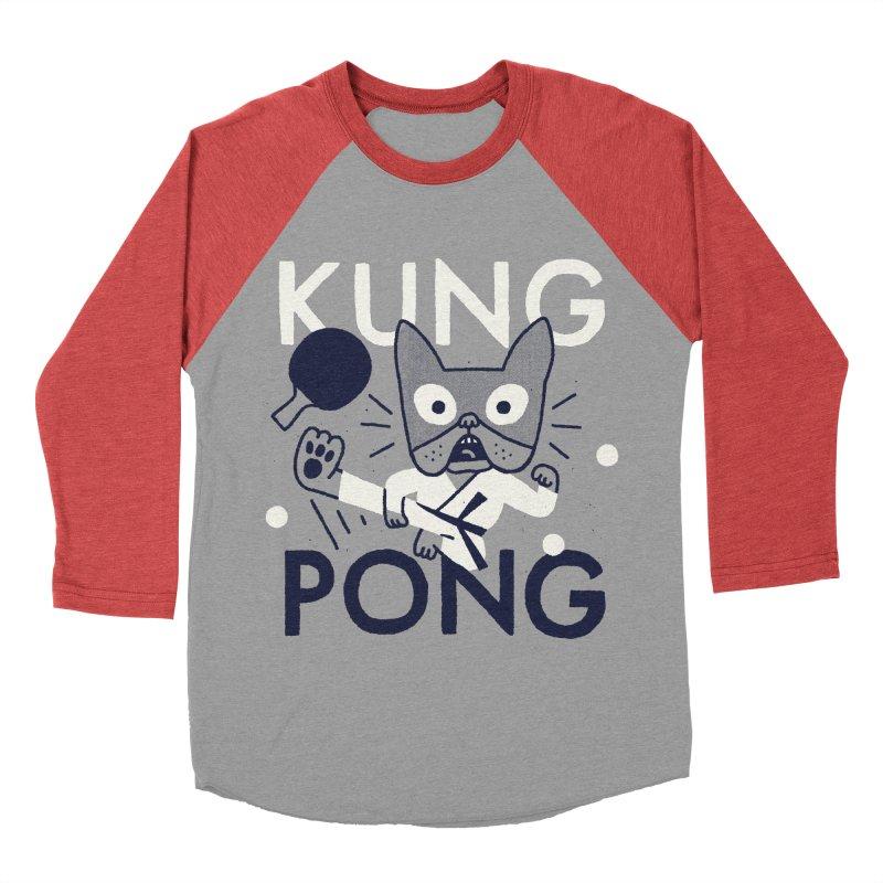 Kung Pong Women's Baseball Triblend Longsleeve T-Shirt by Mauro Gatti House of Fun