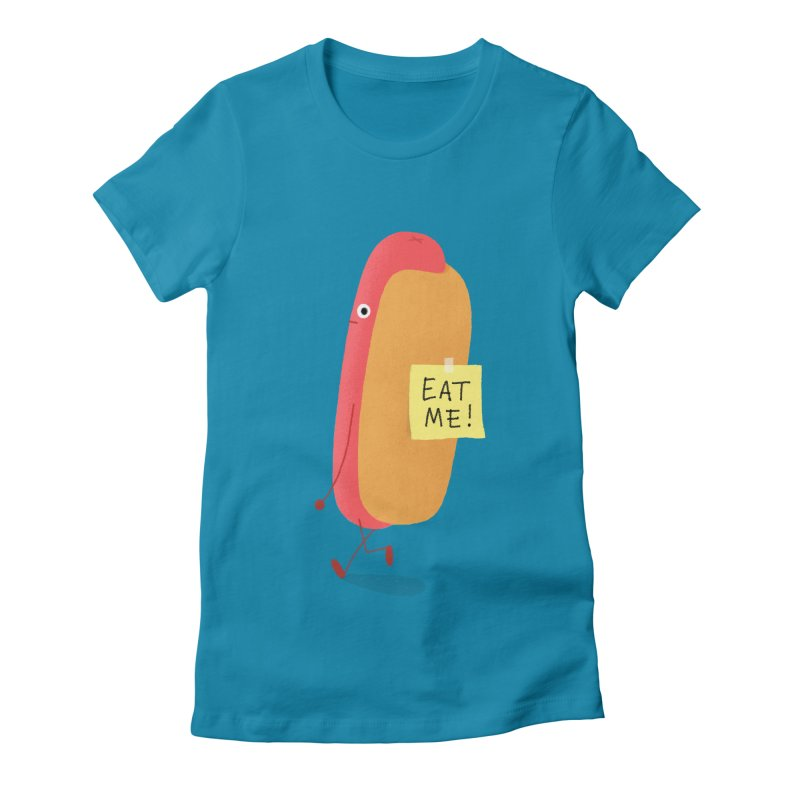 Hot Dog Prank Women's Fitted T-Shirt by Mauro Gatti House of Fun