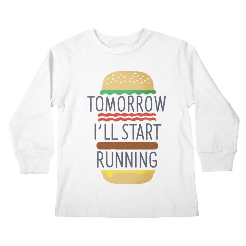 Tomorrow I'll start running Kids Longsleeve T-Shirt by Mauro Gatti House of Fun