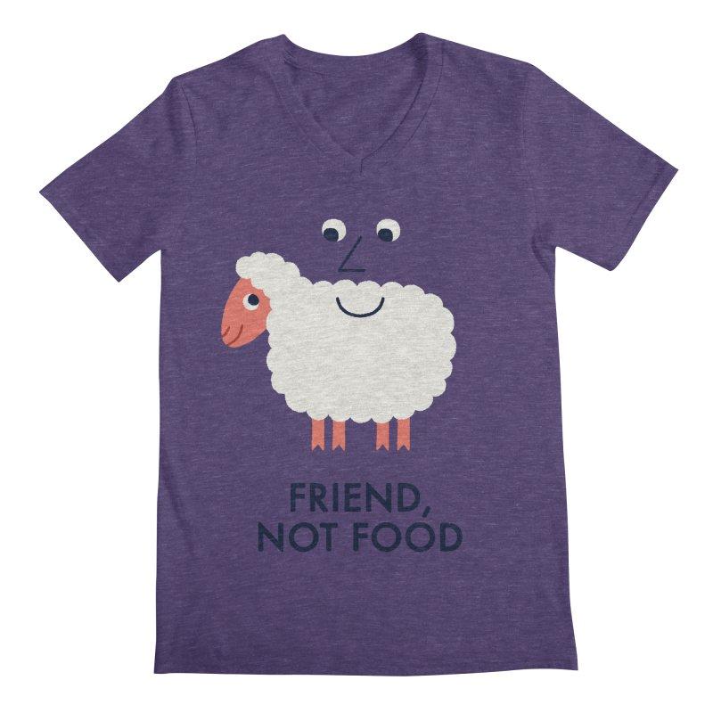 Friend, Not Food Men's Regular V-Neck by Mauro Gatti House of Fun