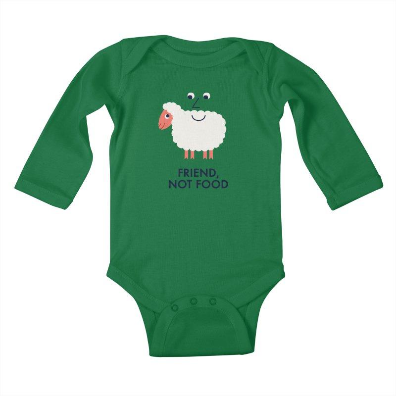 Friend, Not Food Kids Baby Longsleeve Bodysuit by Mauro Gatti House of Fun