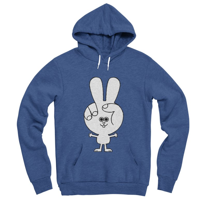 Peace Bunny Men's Sponge Fleece Pullover Hoody by Mauro Gatti House of Fun