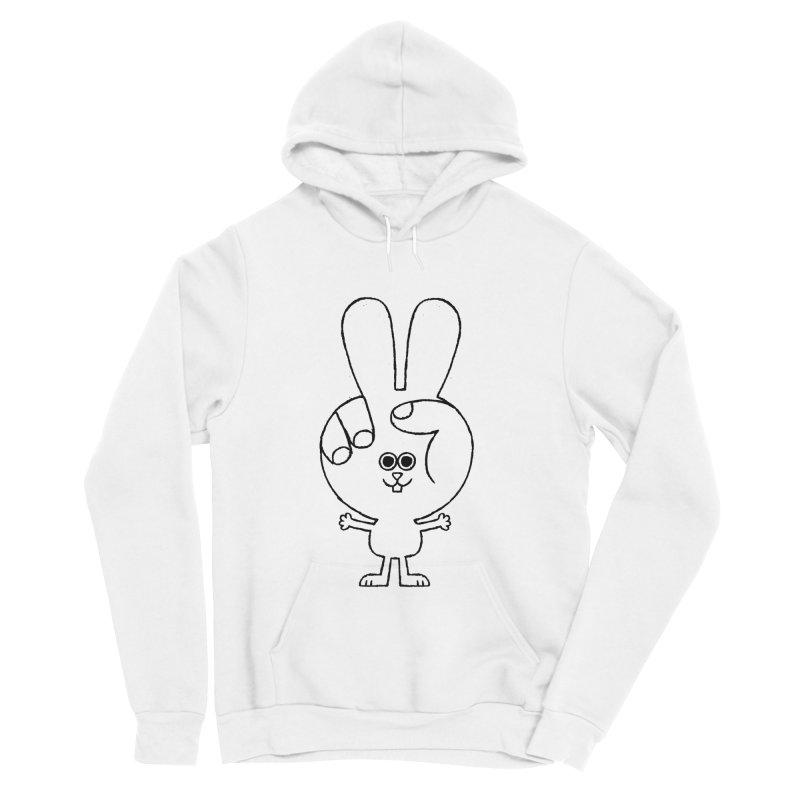 Peace Bunny Men's Sponge Fleece Pullover Hoody by Mauro Gatti House of Fun