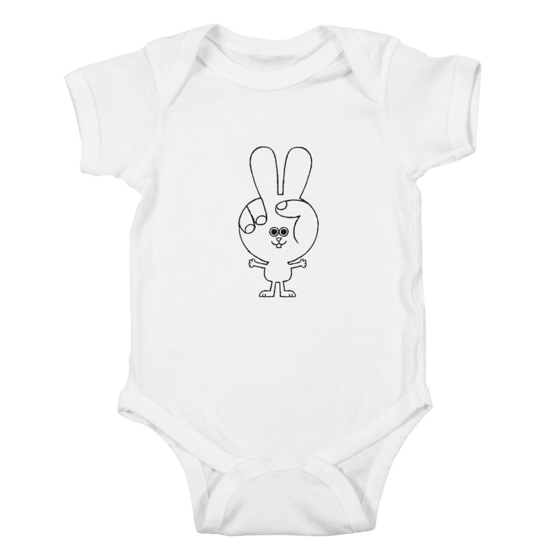 Peace Bunny Kids Baby Bodysuit by Mauro Gatti House of Fun