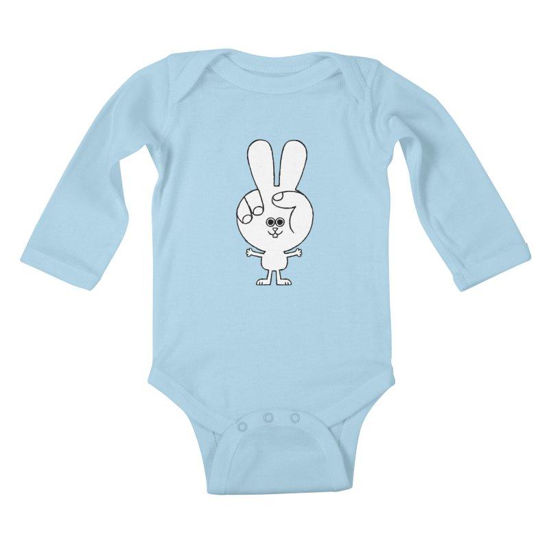 Peace Bunny Kids Baby Longsleeve Bodysuit by Mauro Gatti House of Fun