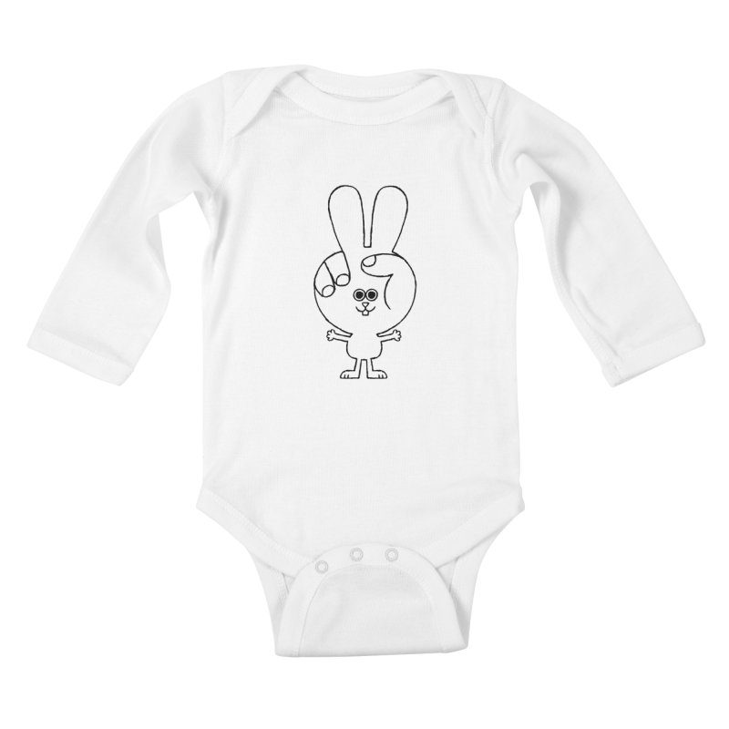 Peace Bunny Kids Baby Longsleeve Bodysuit by Mauro Gatti House of Fun