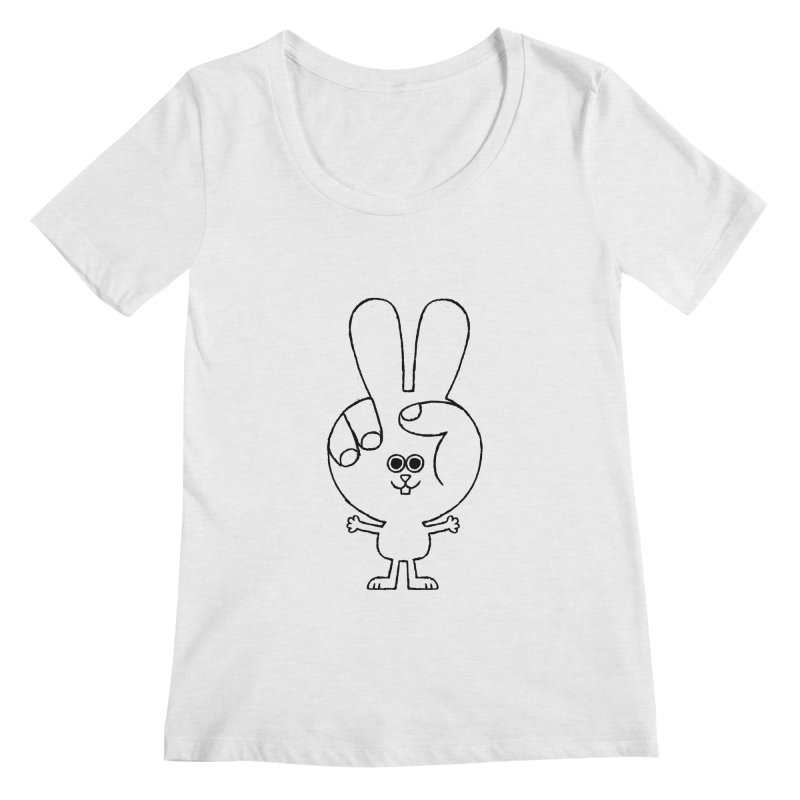 Peace Bunny Women's Regular Scoop Neck by Mauro Gatti House of Fun
