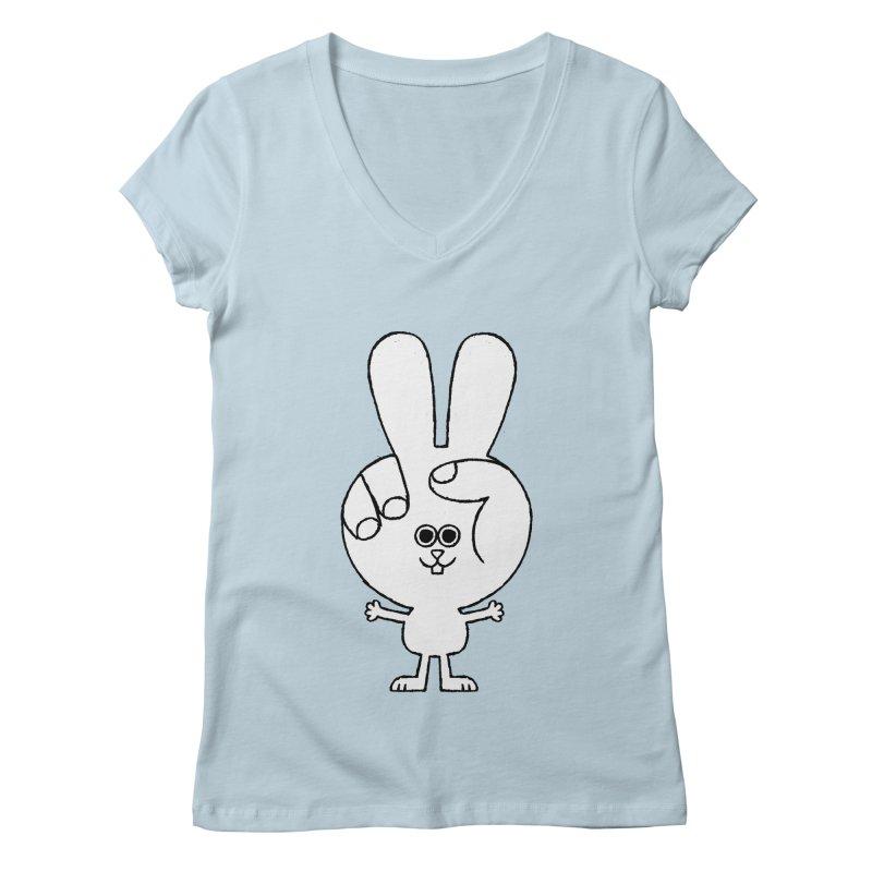 Peace Bunny Women's Regular V-Neck by Mauro Gatti House of Fun