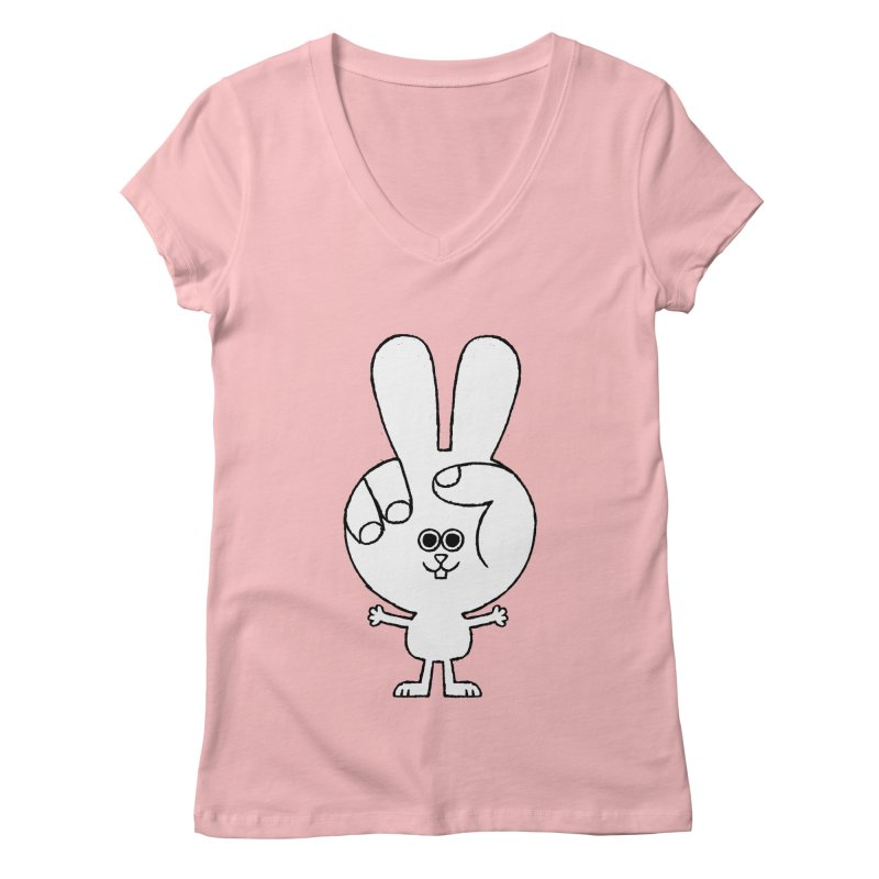 Peace Bunny Women's Regular V-Neck by Mauro Gatti House of Fun