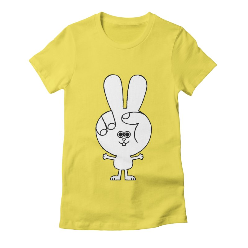 Peace Bunny Women's Fitted T-Shirt by Mauro Gatti House of Fun
