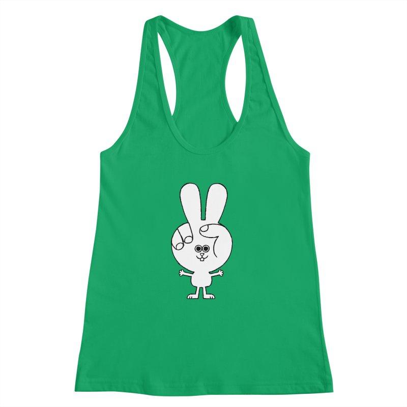Peace Bunny Women's Racerback Tank by Mauro Gatti House of Fun