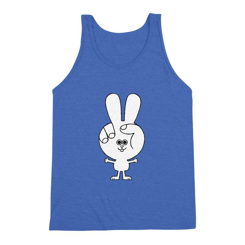 Peace Bunny Men's Triblend Tank by Mauro Gatti House of Fun