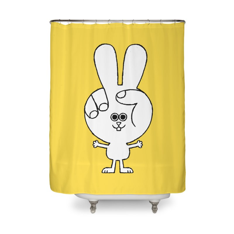 Peace Bunny Home Shower Curtain by Mauro Gatti House of Fun