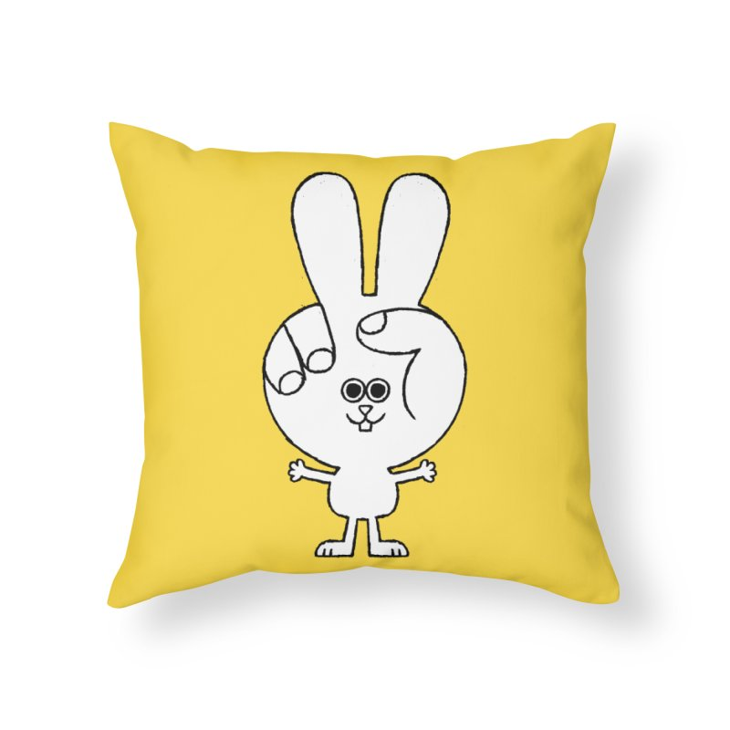 Peace Bunny Home Throw Pillow by Mauro Gatti House of Fun