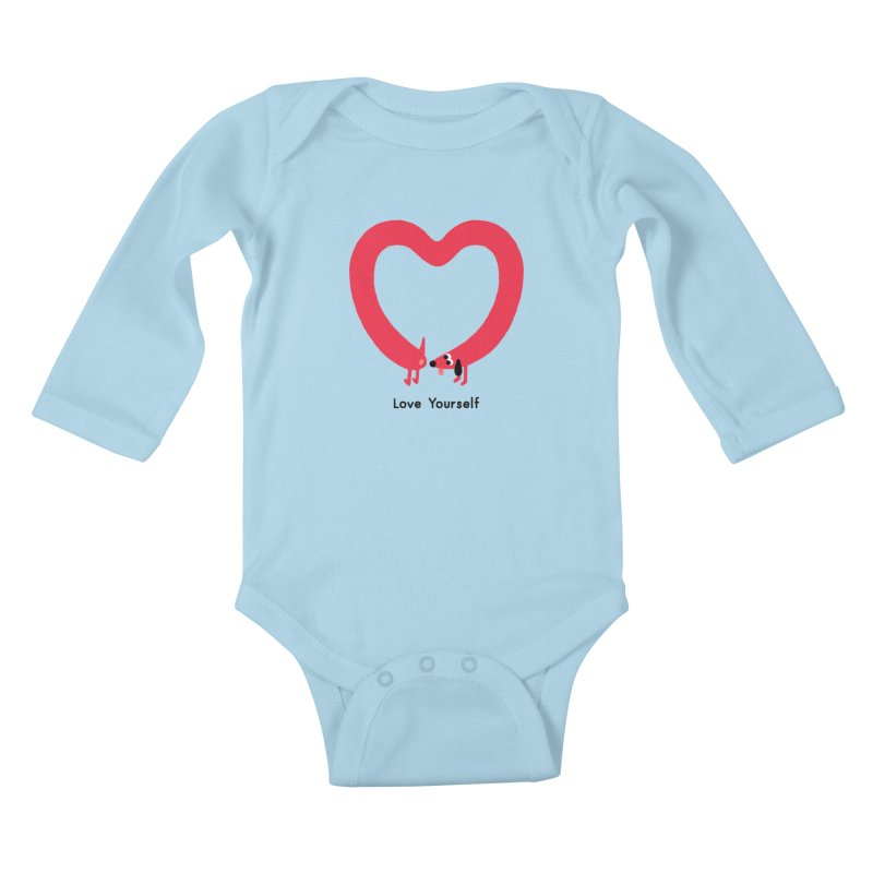 Love Yourself Kids Baby Longsleeve Bodysuit by Mauro Gatti House of Fun